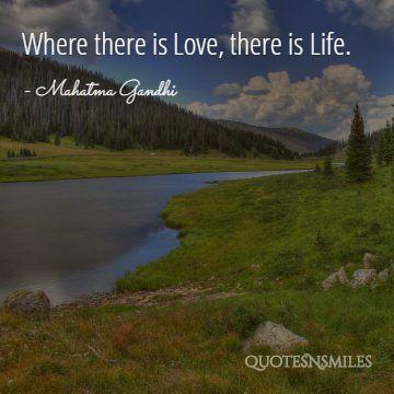 love life gandhi picture quote